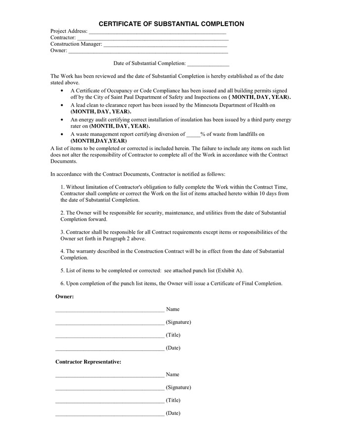 Contractor Certificate Of Completion Templates Certificate Of Substantial Pletion In Word and Pdf formats
