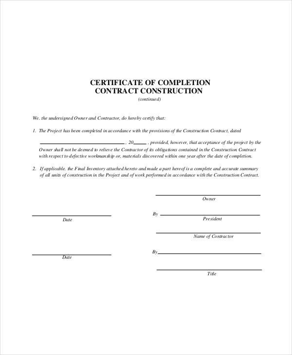 Contractor Certificate Of Completion Templates Construction Contract Template 14 Word Pdf Apple