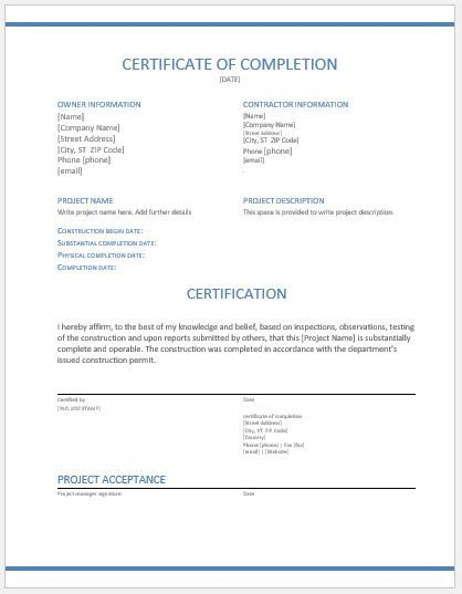 Contractor Certificate Of Completion Templates Construction Work Pletion Certificates for Ms Word