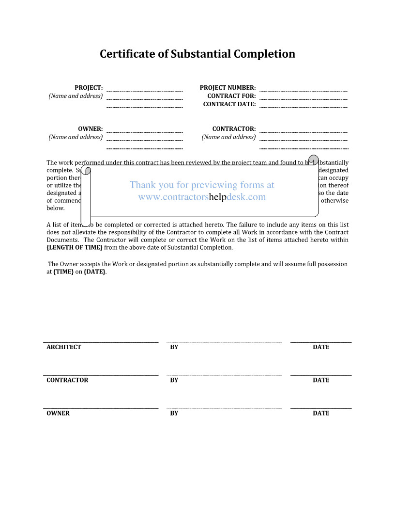 Contractor Certificate Of Completion Templates Contractors Help Desk forms