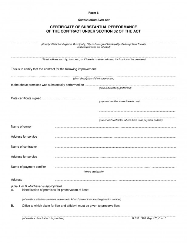 Contractor Certificate Of Completion Templates Pletion Template Construction Certificate Substantial