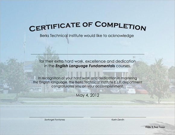 Contractor Certificate Of Completion Templates Sample Certificate Of Pletion 25 Documents In Vector