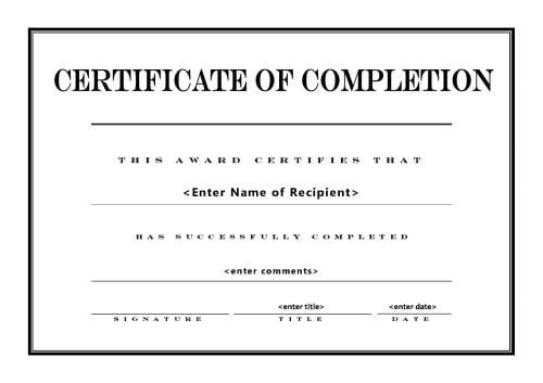 Contractor Certificate Of Completion Templates top 5 Free Certificate Of Pletion Templates Word