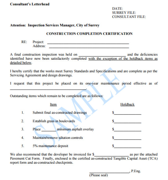 Contractor Certificate Of Completion Templates Work Pletion Certificate Templates Word Excel Samples