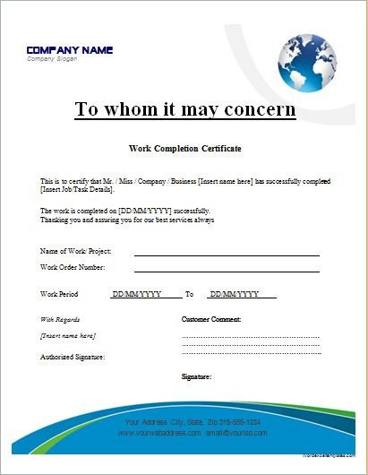 Contractor Certificate Of Completion Templates Work Pletion Certificates for Ms Word