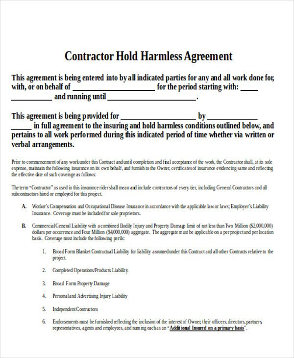 Contractor Hold Harmless Agreement Template 10 Contractor Agreement Samples Examples Templates