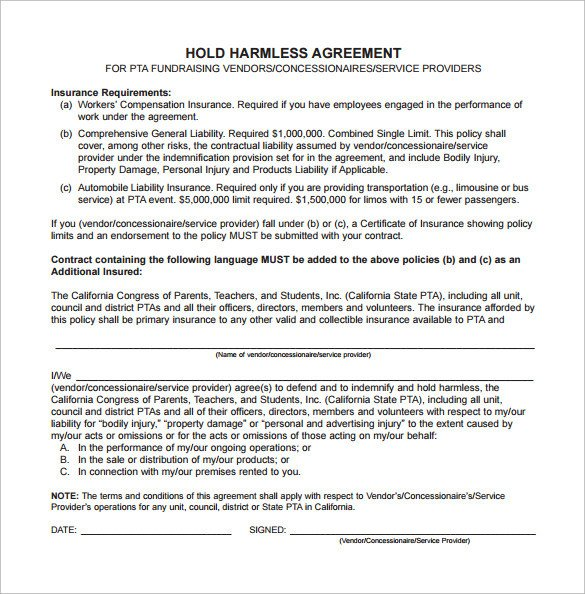 Contractor Hold Harmless Agreement Template 10 Hold Harmless Agreement Samples Examples Templates