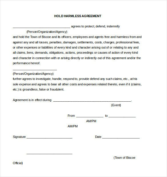 Contractor Hold Harmless Agreement Template 11 Hold Harmless Agreement Templates– Free Sample