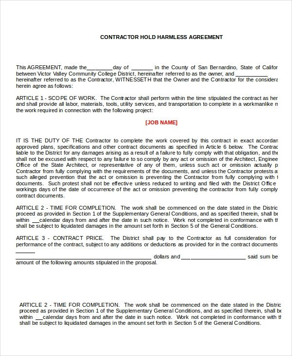 Contractor Hold Harmless Agreement Template 14 Hold Harmless Agreements Free Sample Example