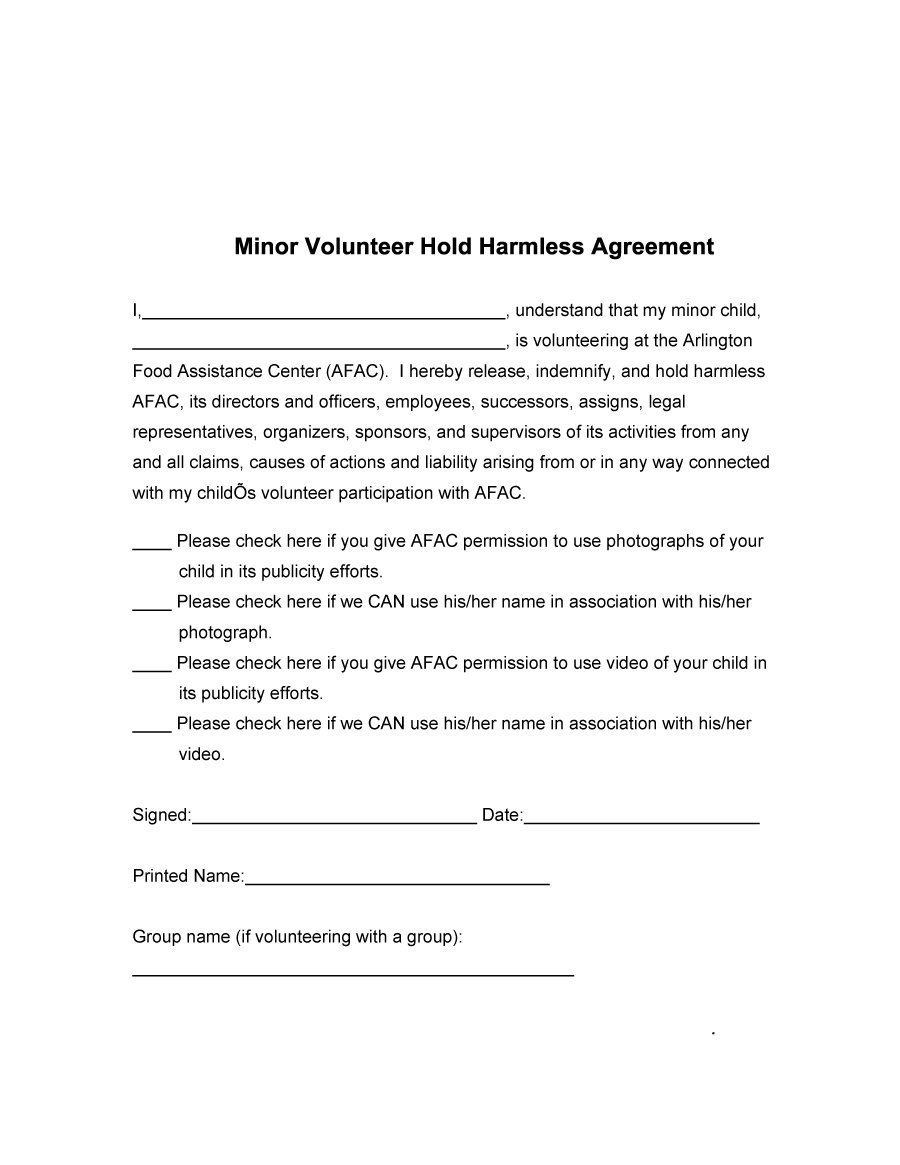 Contractor Hold Harmless Agreement Template 40 Hold Harmless Agreement Templates Free Template Lab
