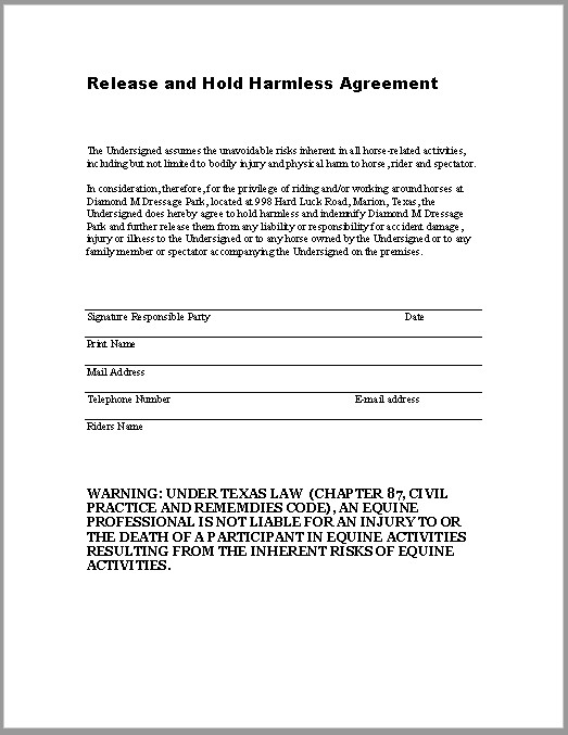Contractor Hold Harmless Agreement Template 43 Free Hold Harmless Agreement Templates Ms Word and Pdfs