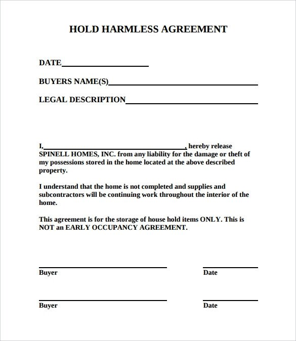 Contractor Hold Harmless Agreement Template Hold Harmless Agreement 11 Download Documents In Pdf
