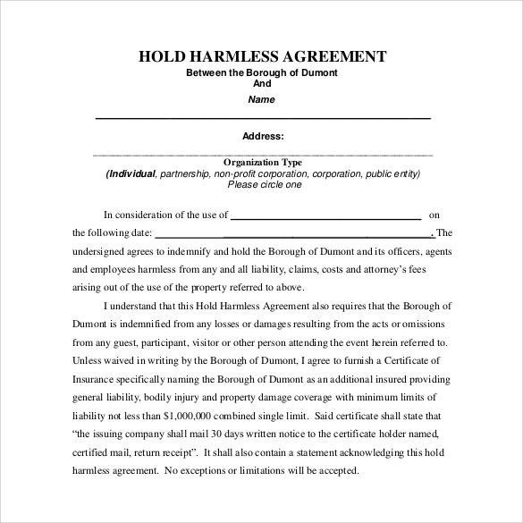 Contractor Hold Harmless Agreement Template Hold Harmless Agreement 32 Download Documents In Pdf