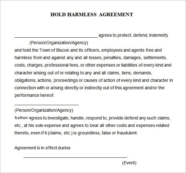 Contractor Hold Harmless Agreement Template Hold Harmless Agreement 7 Free Pdf Doc Download