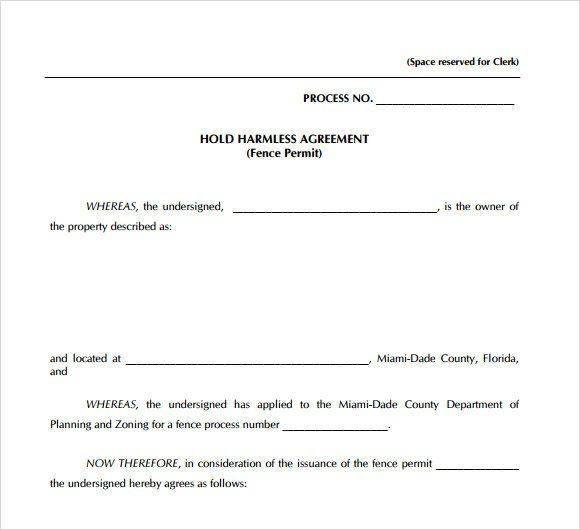 Contractor Hold Harmless Agreement Template Hold Harmless Agreement 9 Free Samples Examples format