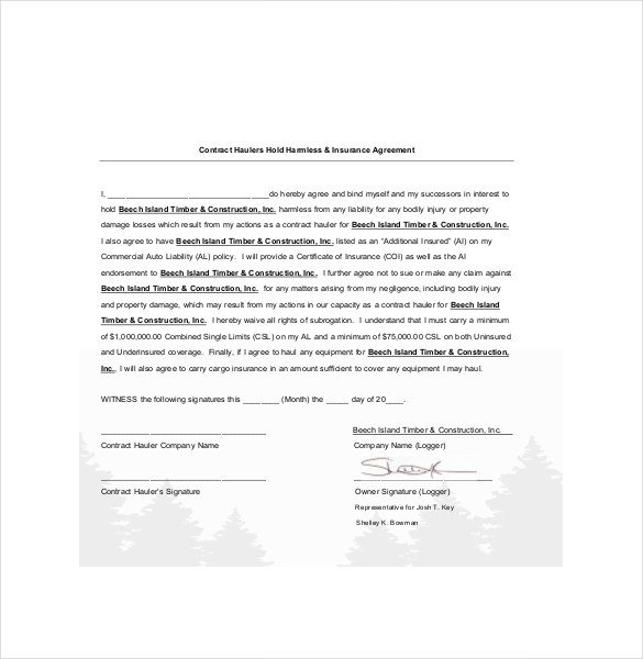 Contractor Hold Harmless Agreement Template Hold Harmless Agreement Template – 14 Free Word Pdf