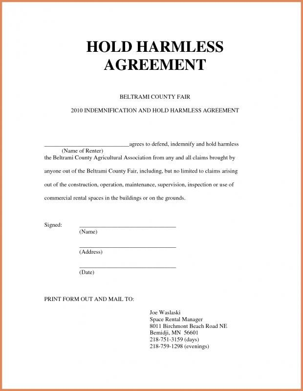 Contractor Hold Harmless Agreement Template Hold Harmless form