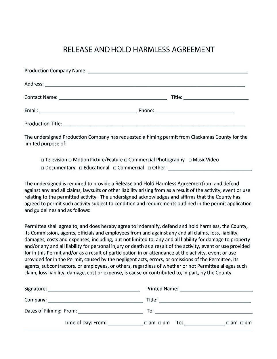 Contractor Hold Harmless Agreement Template Making Hold Harmless Agreement Template for Different Purposes
