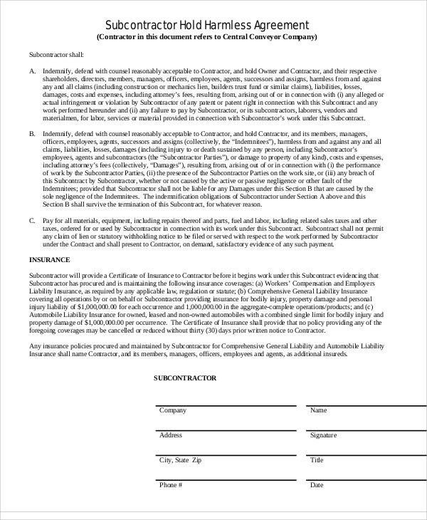 Contractor Hold Harmless Agreement Template Simple Agreements