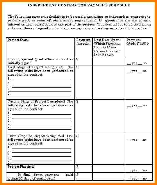 Contractor Payment Schedule Template 6 Contractor Payment Schedule Template