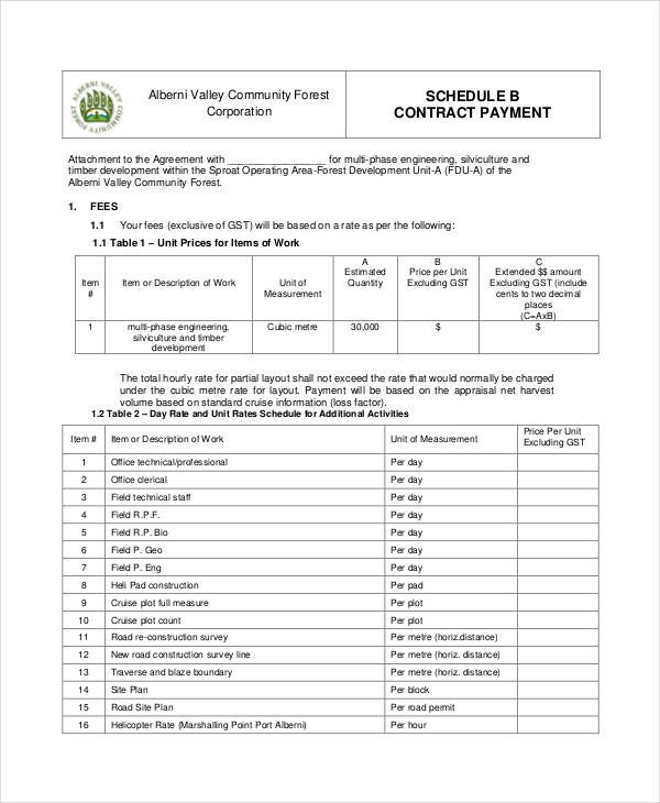 Contractor Payment Schedule Template Contract Payment Schedule Template 11 Free Word Pdf