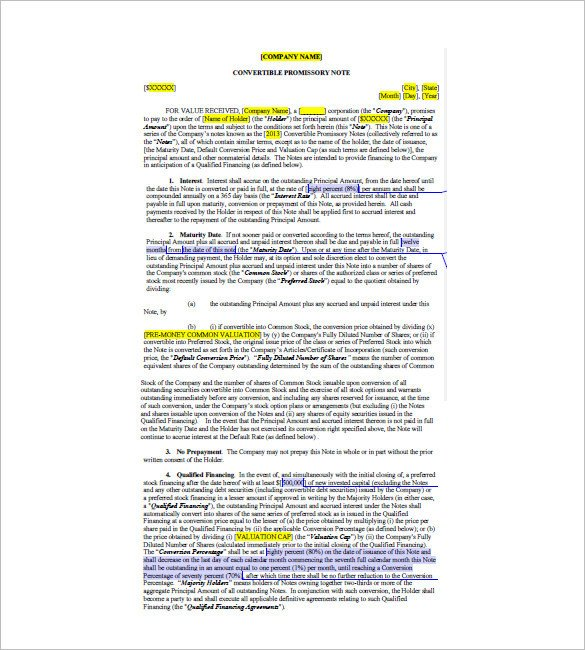 Convertible Promissory Note Template 8 Convertible Promissory Note – Free Sample Example