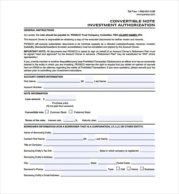 Convertible Promissory Note Template Sample Convertible Note Agreement 9 Free Documents
