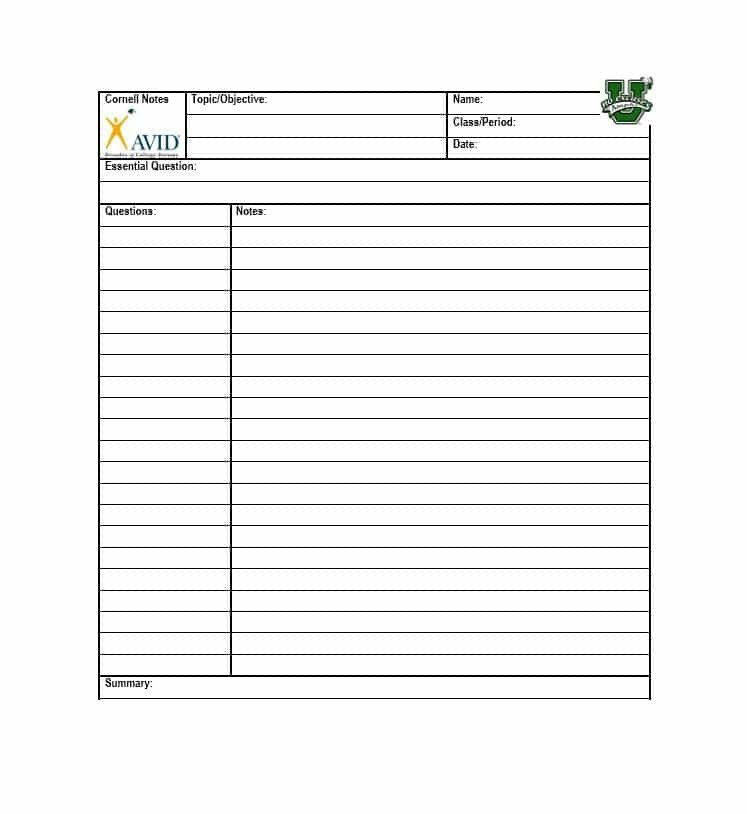 Cornell Notes Template Download 36 Cornell Notes Templates & Examples [word Pdf]