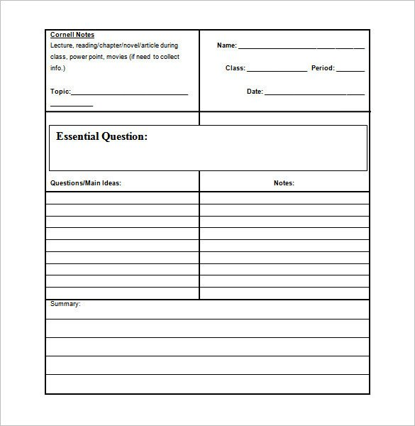 Cornell Notes Template Download Cornell Notes Template 51 Free Word Pdf format