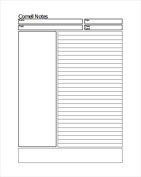 Cornell Notes Template Word Sample Cornell Notes Paper Template 7 Free Documents In
