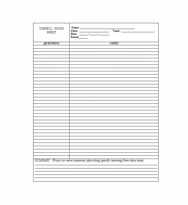 Cornell Notes Word Template 36 Cornell Notes Templates & Examples [word Pdf]