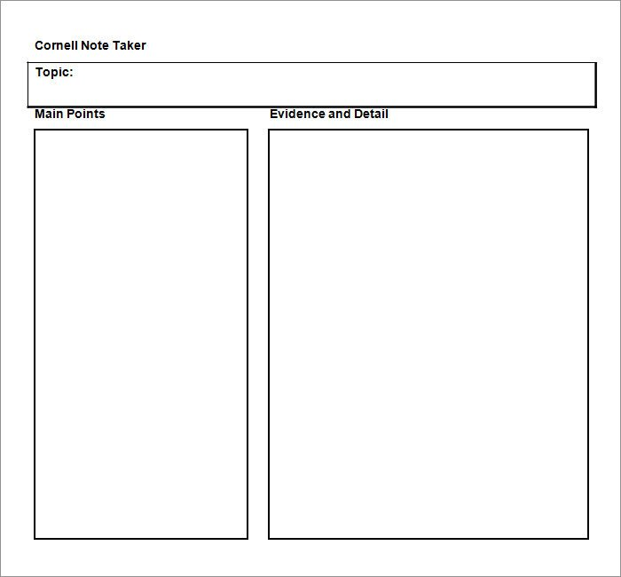 Cornell Notes Word Template Cornell Notes Template 51 Free Word Pdf format