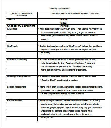 Cornell Notes Word Template Cornell Notes Template Word 5 Free Word Documents