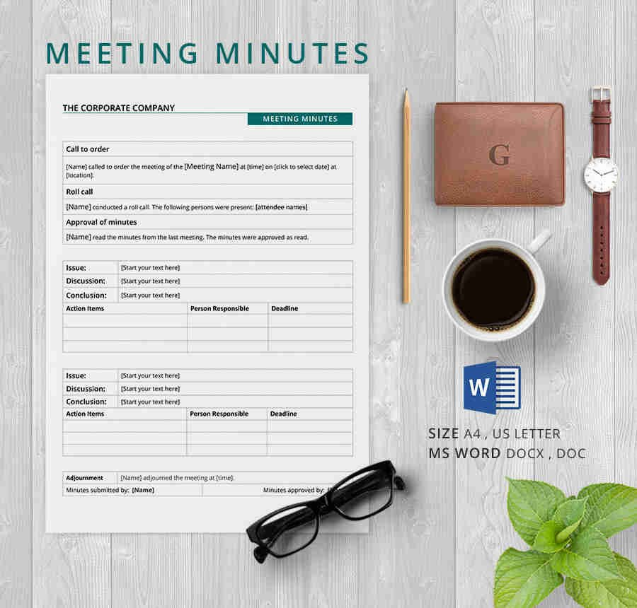Corporate Minutes Template Word 19 Meeting Minutes Template Free Samples Examples