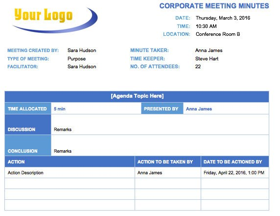 Corporate Minutes Template Word Free Meeting Minutes Templates Instructions