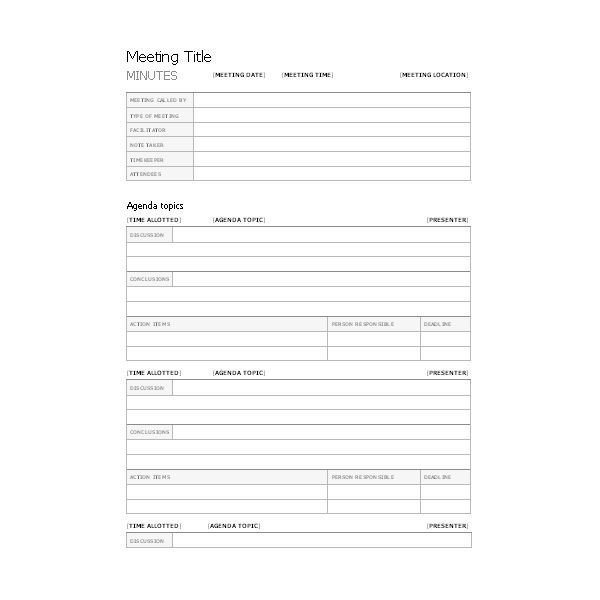 Corporate Minutes Template Word Free Templates for Business Meeting Minutes