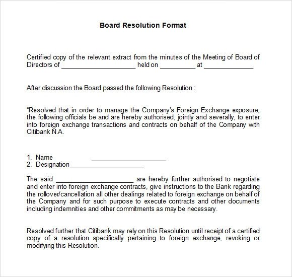 Corporate Resolution Template Microsoft Word 7 Board Resolution Samples Pdf Doc