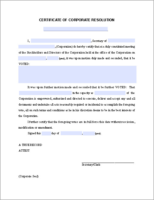 Corporate Resolution Template Microsoft Word Certificate Of Corporate Resolution