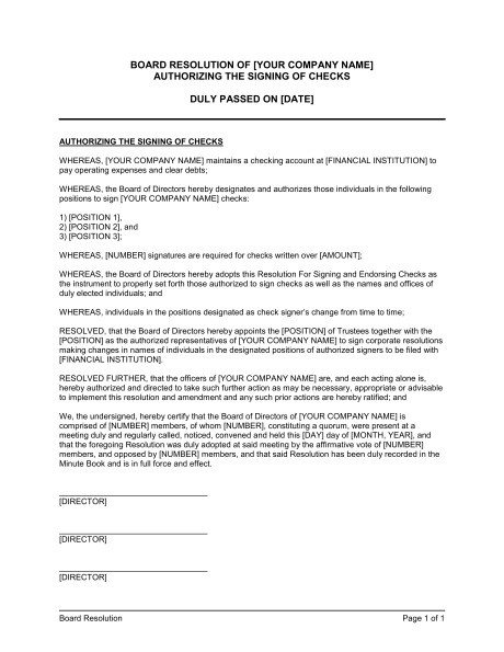 Corporate Resolution Template Microsoft Word Corporate Resolution Authorized Signers Sample Templates