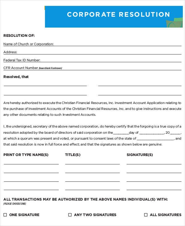 Corporate Resolution Template Microsoft Word Corporate Resolution form 7 Free Word Pdf Documents
