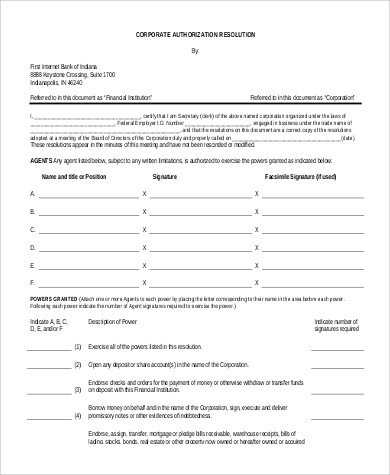 Corporate Resolution Template Microsoft Word Sample Corporate Resolution form 9 Examples In Word Pdf