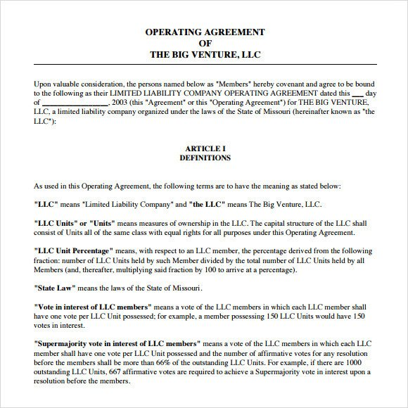 Corporation Operating Agreement Template 13 Sample Operating Agreements Pdf Word