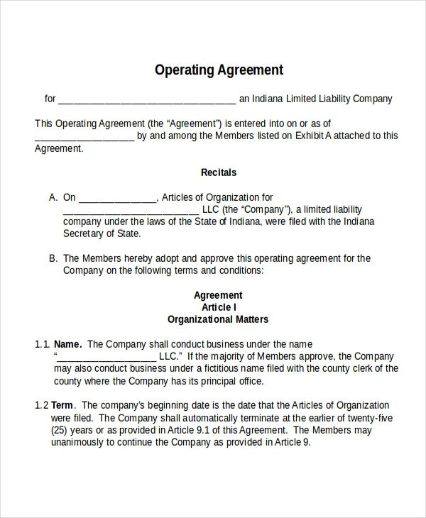 Corporation Operating Agreement Template 17 Agreement Templates Free Sample Example format
