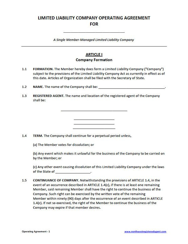 Corporation Operating Agreement Template Free Single Member Llc Operating Agreement Template