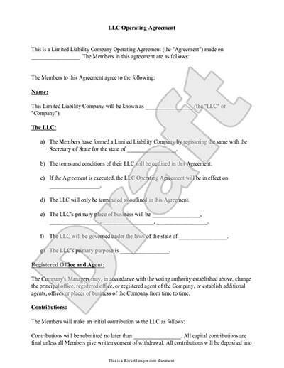 Corporation Operating Agreement Template Llc Operating Agreement Template