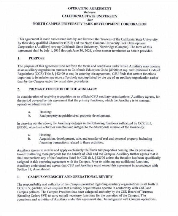 Corporation Operating Agreement Template Operating Agreement Template 13 Free Word Pdf Google