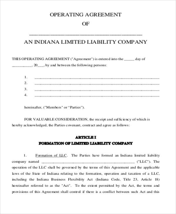 Corporation Operating Agreement Template Sample Business Operating Agreements 8 Examples In Word