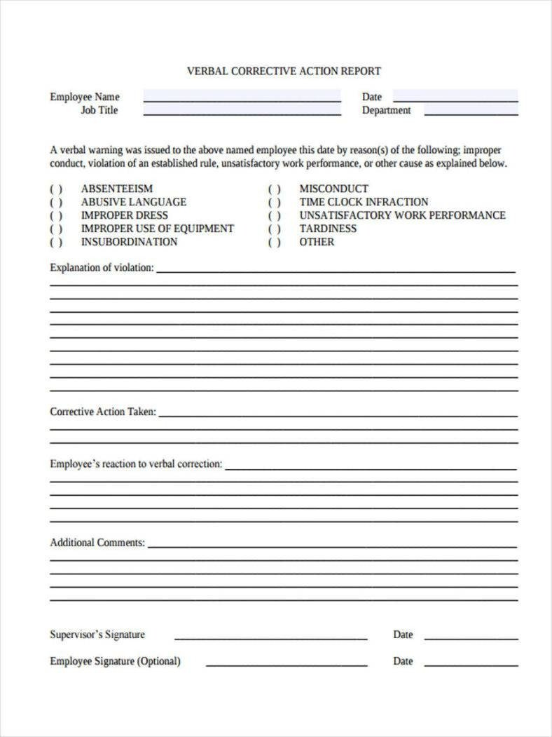 Corrective Action form Template 9 Employee Correction forms & Templates Pdf Doc