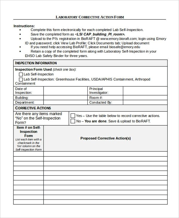 Corrective Action form Template 9 Sample Corrective Action forms Free Sample Example