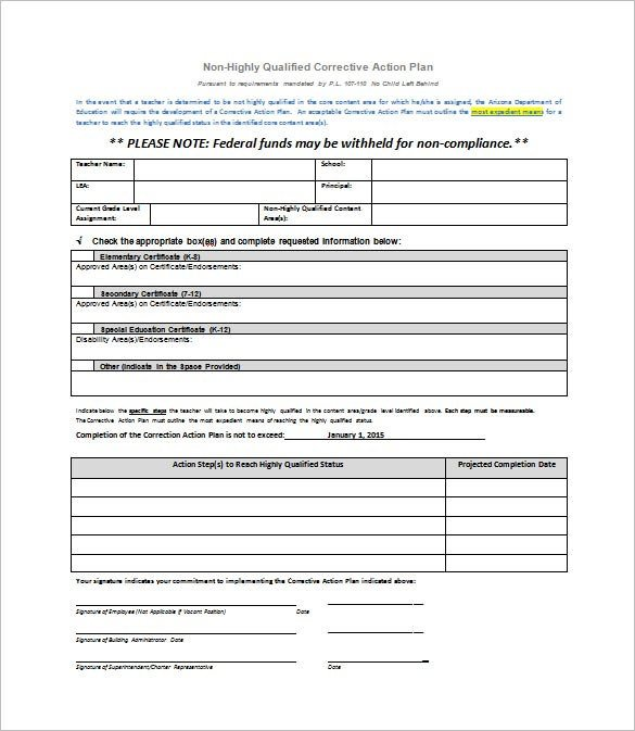 Corrective Action form Template Corrective Action Plan Template 15 Free Sample Example